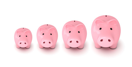 Piggy banks gowth chart, white background photo