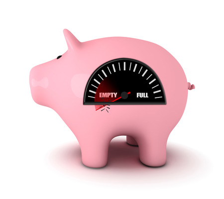 piggy bank: Piggy bank with fuel gauge, white background
