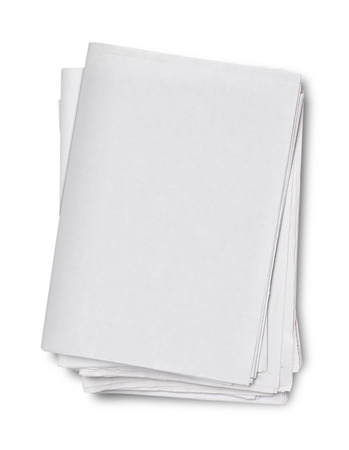 Blank grey newspapers on white background