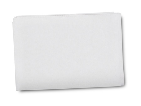 Blank grey newspaper on white background 免版税图像