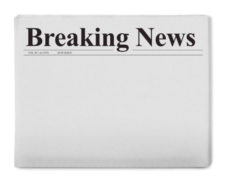 blank newspaper: Breaking news title on newspaper