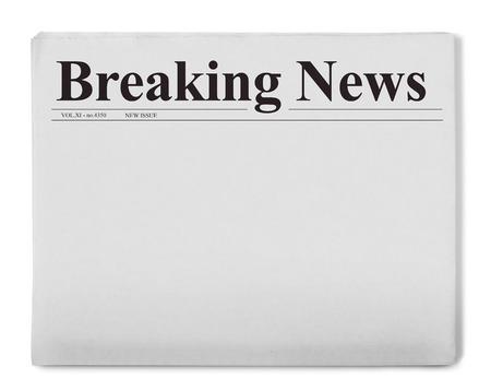 newspaper stack: Breaking news title on newspaper