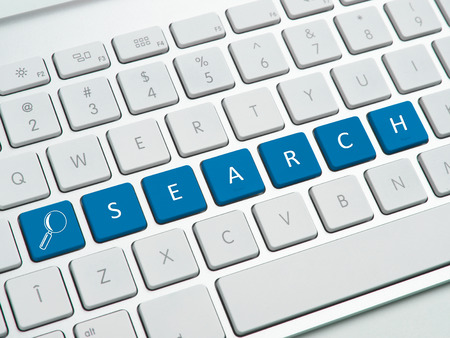 search solution: Search text on computer keyboard Stock Photo