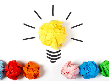 crumpled paper ball: Lightbulb representing a good ideea