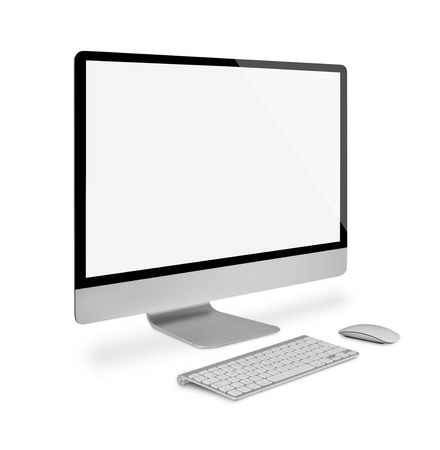 keyboard and mouse: Computer monitor with keyboard and mouse, side view, isolated on white Stock Photo