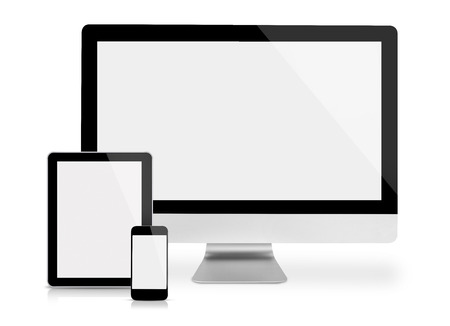 Computer monitor, tablet and phone, frontal view, isolated on white Foto de archivo
