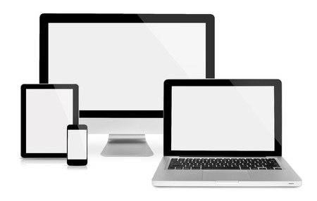 Computer monitor,laptop, tablet and phone, frontal view, isolated on white