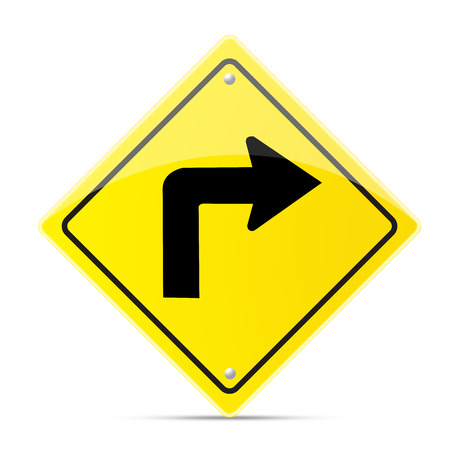 turn sign: Turn right road sign