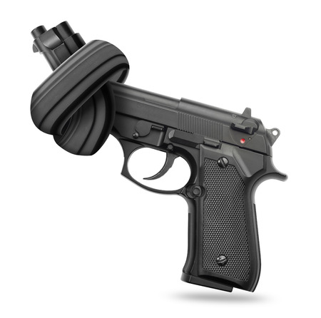 non violence: Handgun with knot