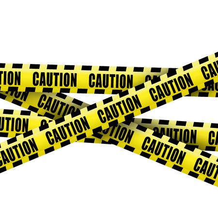 se�ales de seguridad: Cinta de precauci�n en el fondo blanco