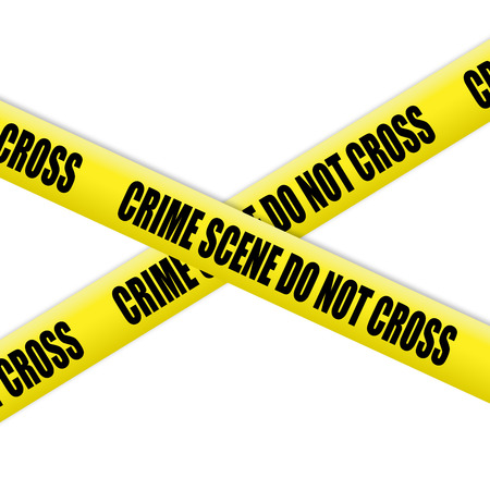 Crime scene tape on white background photo