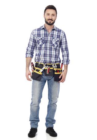 building contractor: Handyman with toolbelt
