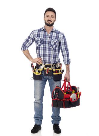building contractor: Handyman with toolbox