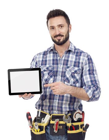 Carpenter showing tablet