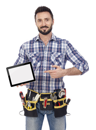 building contractor: Carpenter showing tablet