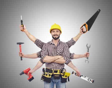 Heimwerker mit Werkzeugen Lizenzfreie Bilder