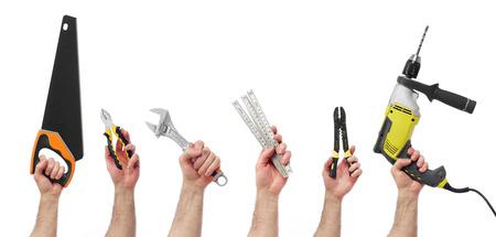 work tools: Manos levantadas celebraci�n de diferentes herramientas