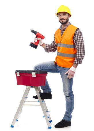 Carpenter with tools photo
