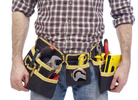 class maintenance: Carpenter wearing tool belt