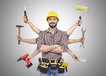 Handyman with tools 版權商用圖片 - 38186664