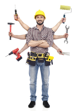 paint roller: Handyman with tools