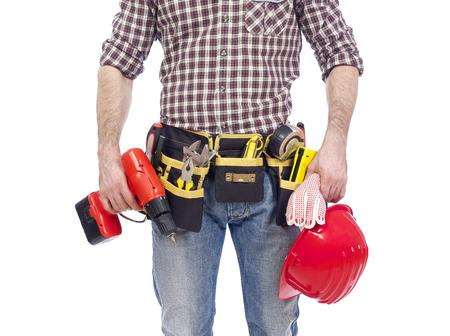 class maintenance: Carpenter wearing tool bet Stock Photo