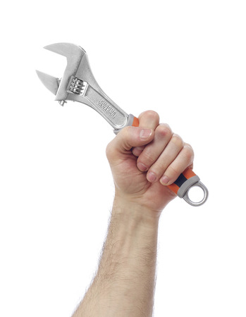 class maintenance: Hand with wrench Stock Photo