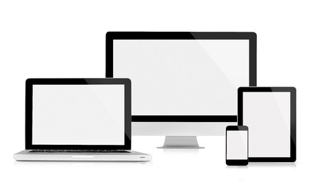 apple computers: This is a front view of the digital device with blank screen, isolated on white. Stock Photo