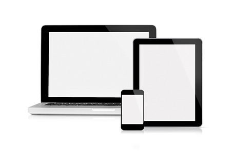 macbook: This is a front view of the digital device with blank screen, isolated on white. Stock Photo