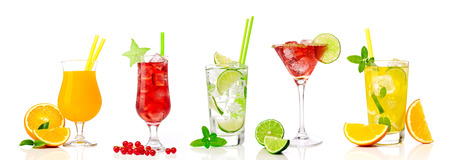 Various type of cocktails, white background photo