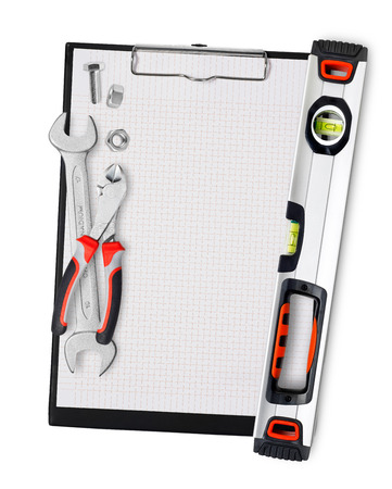 home addition: Clipboard with tools Stock Photo