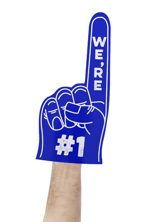 human finger: Were number 1 foam hand Stock Photo