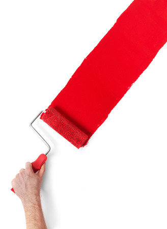 paint roller: Hand with paint roller