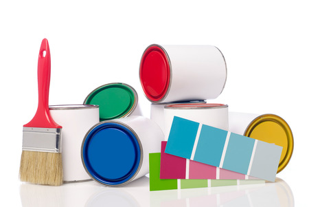 color chart: Paint cans, paint brush and color chart Stock Photo