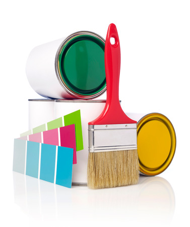 paint swatch: Paintbrush,color swatch and paint cans Stock Photo