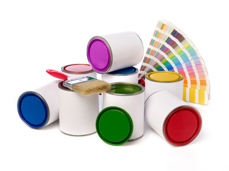 Paint cans, paint brush and color swatch