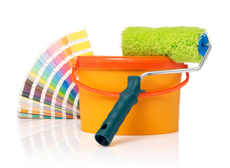 paint swatch: Paint roller, paint bucket and color swatch