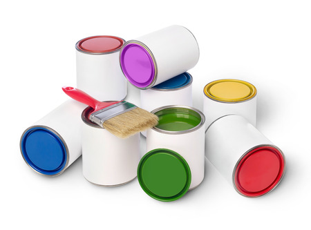 paint cans: Paint cans and paintbrush Stock Photo