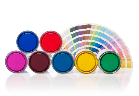 paint cans: Paint cans and color swatch