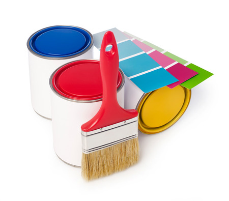 paint cans: Paint cans, paint brush and color chart Stock Photo