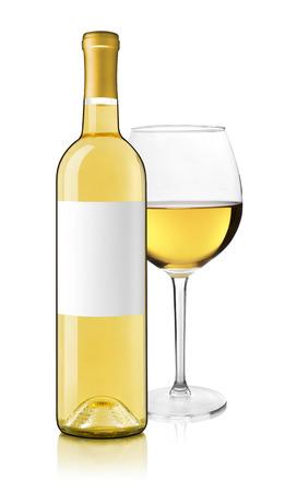 bouteille de vin: Bouteille de vin blanc et de verre Banque d'images