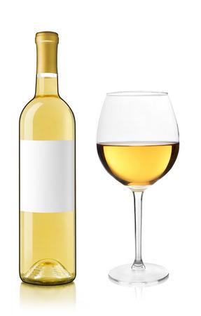 white wine bottle: White wine bottle and glass