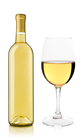 white wine: White wine bottle and glass