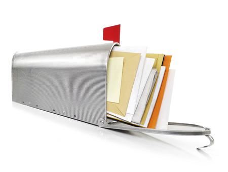 u s  flag: Mailbox full with envelopes Stock Photo