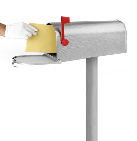the u s  flag: Delivering mail Stock Photo