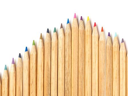 colour in: Lápices multicolores sobre fondo blanco Foto de archivo
