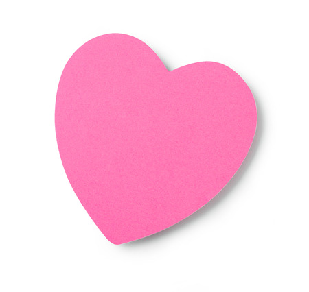 adhesive  note: Heart shaped adhesive note on white background Stock Photo