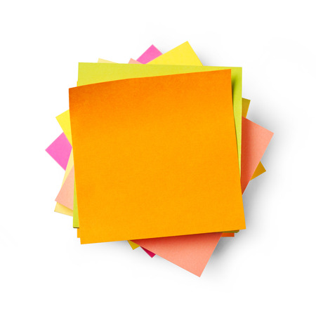 adhesive: Adhesive notes on white background