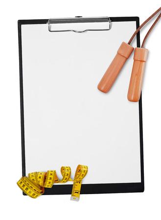 saltar la cuerda: Portapapeles con saltar la cuerda y cinta métrica