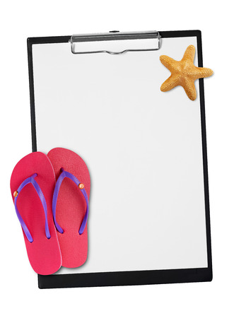 star fish: Clipboard with star fish and slippers